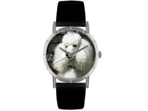 Poodle Black Leather And Silvertone Photo Watch #R0130059