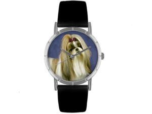 ShihTzu Black Leather And Silvertone Photo Watch #R0130069
