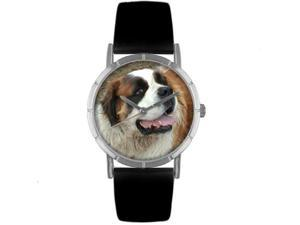 Saint Bernard Black Leather And Silvertone Photo Watch #R0130070