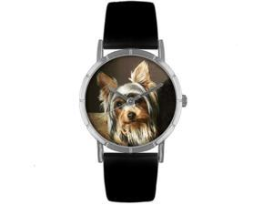 Yorkie Black Leather And Silvertone Photo Watch #R0130077