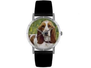 Bassett Hound Black Leather And Silvertone Photo Watch #R0130078