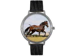 Thoroughbred Horse Black Leather And Silvertone Photo Watch #T0110032