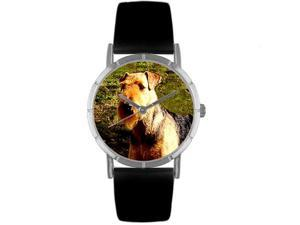 Airedale Terrier Black Leather And Silvertone Photo Watch #R0130079