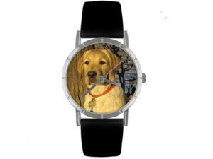 Yellow Labrador Retriever Black Leather And Silvertone Photo Watch #R0130081