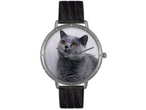 Russian Blue Cat Black Leather And Silvertone Photo Watch #T0120029