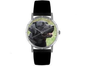Black Labrador Retriever Black Leather And Silvertone Photo Watch #R0130082