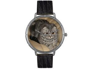 Scottish Fold Cat Black Leather And Silvertone Photo Watch #T0120031