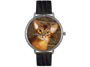Abyssinian Cat Black Leather And Silvertone Photo Watch #T0120033