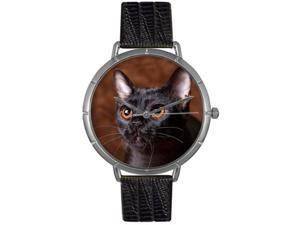 Bombay Cat Black Leather And Silvertone Photo Watch #T0120037