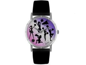 Cheerleading Lover Black Leather And Silvertone Photo Watch #R0840014