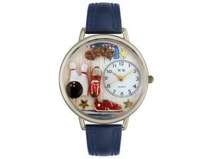 Bowling Navy Blue Leather And Silvertone Watch #U0820005