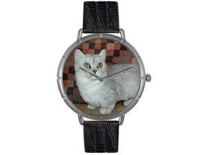 Munchkin Cat Black Leather And Silvertone Photo Watch #T0120047