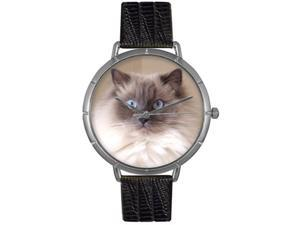 Ragdoll Cat Black Leather And Silvertone Photo Watch #T0120049