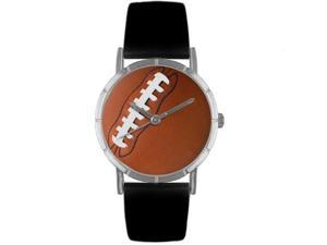 Football Lover Black Leather And Silvertone Photo Watch #R0840017