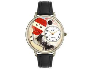 Hockey Black Padded Leather And Silvertone Watch #U0820011