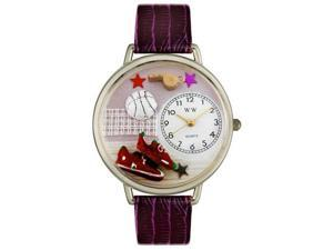 Volleyball Purple Leather And Silvertone Watch #U0820013