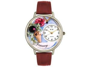 Birthstone: January Burgundy Leather And Silvertone Watch #U0910001