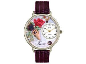 Birthstone: June Purple Leather And Silvertone Watch #U0910006