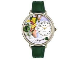 Birthstone: August Hunter Green Leather And Silvertone Watch #U0910008