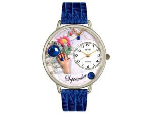Birthstone: September Royal Blue Leather And Silvertone Watch #U0910009