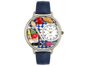Gourmet Navy Blue Leather And Silvertone Watch #U0310001