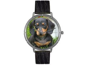 Dachshund Black Leather And Silvertone Photo Watch #T0130034