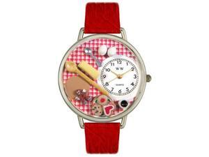 Whimsical Watches U0310005 Baking Red Leather And Silvertone Watch