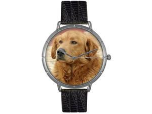 Golden Retriever Black Leather And Silvertone Photo Watch #T0130042