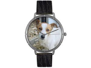 Jack Russel Black Leather And Silvertone Photo Watch #T0130048