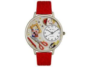 Scrapbook Red Leather And Silvertone Watch #U0410008