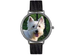 Whimsical Watches T0130073 Westie Black Leather And Silvertone Photo Watch