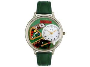 Billiards Hunter Green Leather And Silvertone Watch #U0430006
