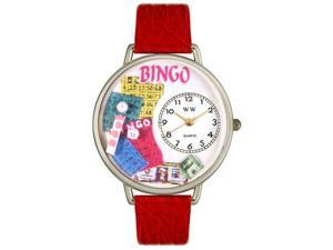 Bingo Red Leather And Silvertone Watch #U0430007