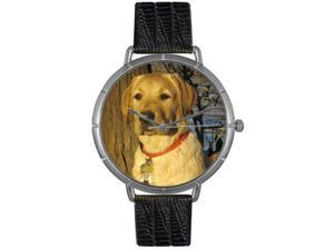 Yellow Labrador Retriever Black Leather And Silvertone Photo Watch #T0130081