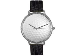 Golf Lover Black Leather And Silvertone Photo Watch #T0840009