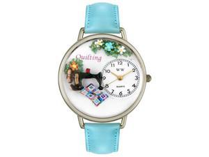 Whimsical Watches U0450012 Quilting Baby Blue Leather And Silvertone Watch