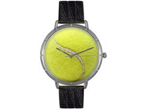 Tennis Lover Black Leather And Silvertone Photo Watch #T0840011