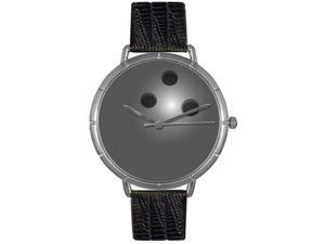 Bowling Lover Black Leather And Silvertone Photo Watch #T0840013
