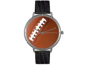Football Lover Black Leather And Silvertone Photo Watch #T0840017