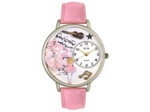 Ballet Shoes Pink Leather And Silvertone Watch #U0510003