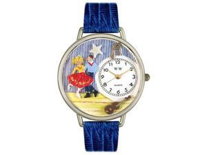 Square Dancing Royal Blue Leather And Silvertone Watch #U0510006