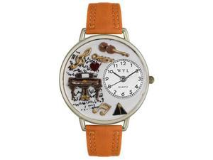 Music Piano Tan Leather And Silvertone Watch #U0510007