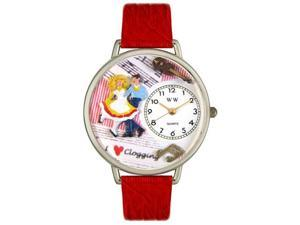 Whimsical Watches U0510010 Clogging Red Leather And Silvertone Watch