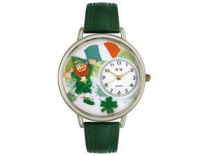 St. Patrick's Day w/Irish Flag Hunter Green Leather And Silvertone Watch #U1224001