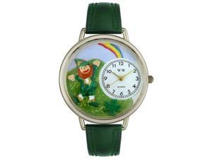St. Patrick's Day Rainbow Hunter Green Leather And Silvertone Watch #U1224002
