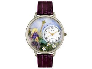 Fairy Purple Leather And Silvertone Watch #U1610001