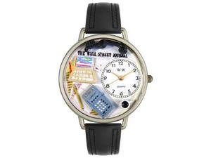 Whimsical Watches U0610005 AccounTant Black Padded Leather And Silvertone Watch