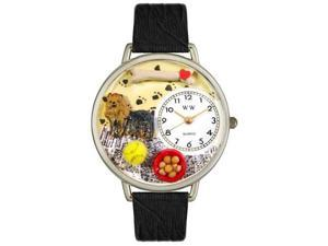 Whimsical Watches U0130077 Yorkie Black Skin Leather And Silvertone Watch