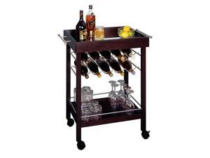 Winsome 92329 Espresso CART WINE HLDR MIRROR TOP 10-BTL