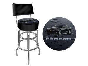 Black Camaro Padded Bar Stool With Back